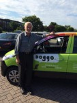 Neuroscientist and father of neuroaffective research Jaak Panksepp leaning against Debby's car